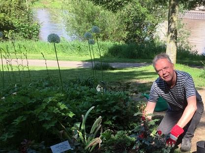Volker Dubberke beim Einpflanzen der Rosen©Bürgerstiftung im Landkreis Nienburg
